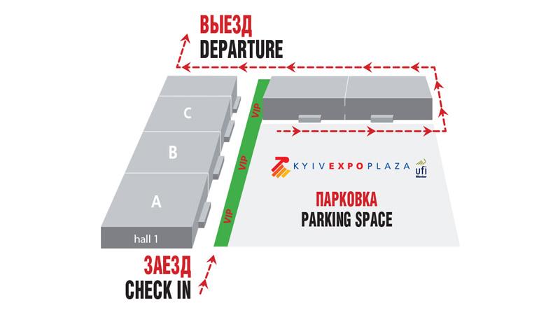 Схема парковки ВЦ КиевЭкспоПлаза
