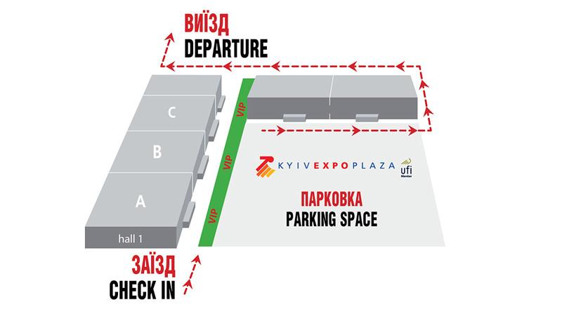 Схема парковки ВЦ КиївЕкспоПлаза